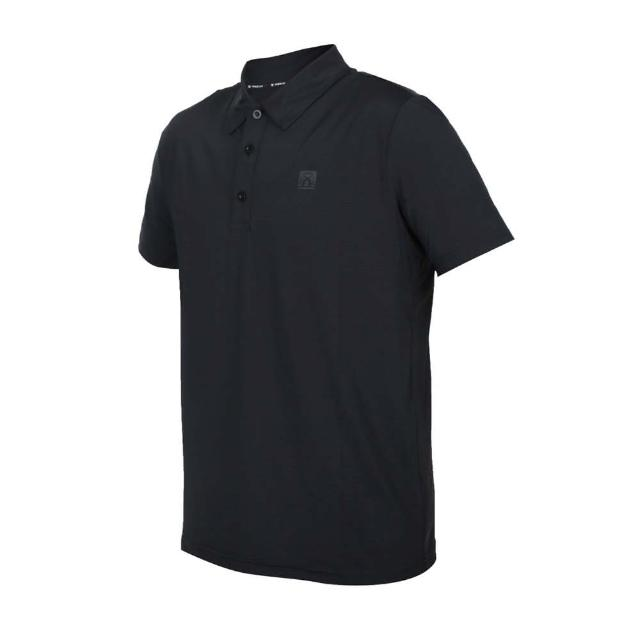 【FIRESTAR】男彈性機能短袖POLO衫-運動 慢跑 路跑 上衣 涼感 高爾夫 反光 黑(D1751-10)