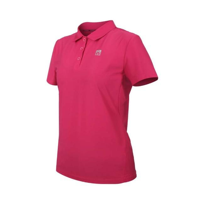 【FIRESTAR】女彈性機能短袖POLO衫-運動 慢跑 路跑 上衣 涼感 高爾夫 反光 桃紅銀(DL168-47)