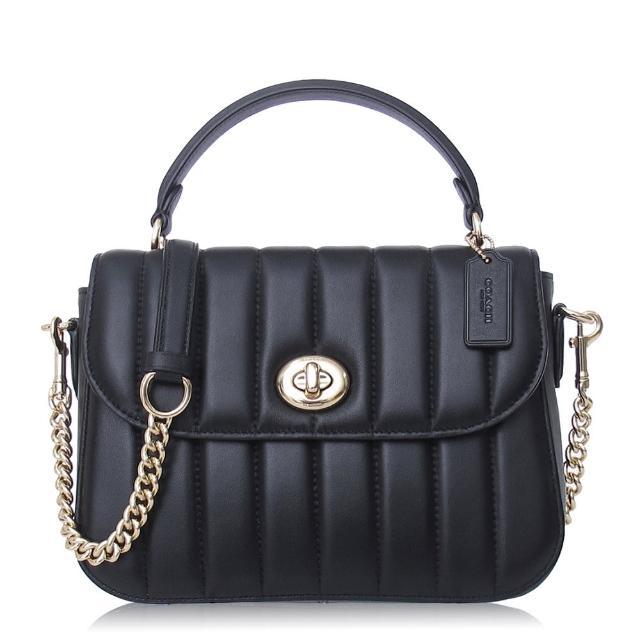 【COACH】絎縫 納帕皮革 / MARLIE TOP 小款 / 斜背 兩用包(黑色)