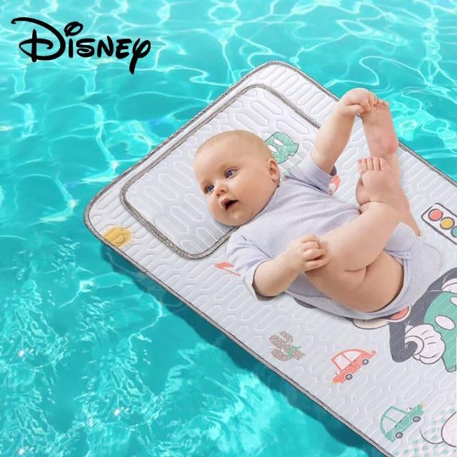 【Disney 迪士尼】兒童涼蓆乳膠涼蓆寶寶嬰兒大尺寸涼蓆含枕頭二件套裝(米奇米妮小熊維尼蘇菲亞冰雪奇緣)