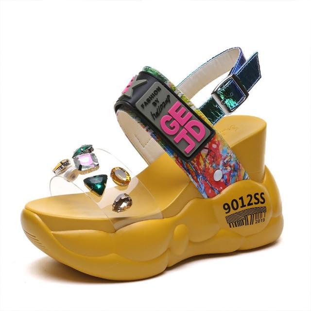 【Taroko】螢光寶石美式超高厚底運動休閒涼鞋(2色可選)