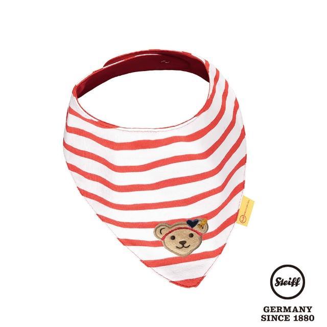 【STEIFF】熊頭 條紋 口水巾 領巾(圍兜)