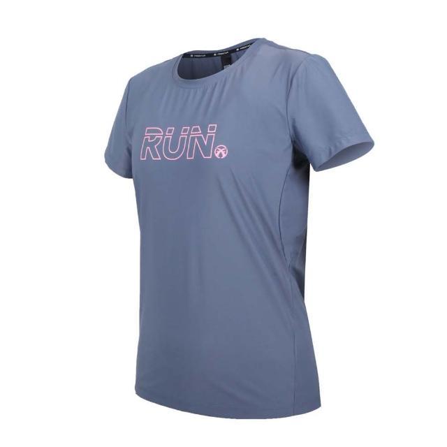 【FIRESTAR】女彈性印花圓領短袖T恤-運動 慢跑 路跑 上衣 涼感 灰紫粉(DL163-13)