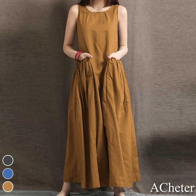 【ACheter】日本原色雙口袋褶設計棉麻背心洋裝#109440現貨+預購(3色)