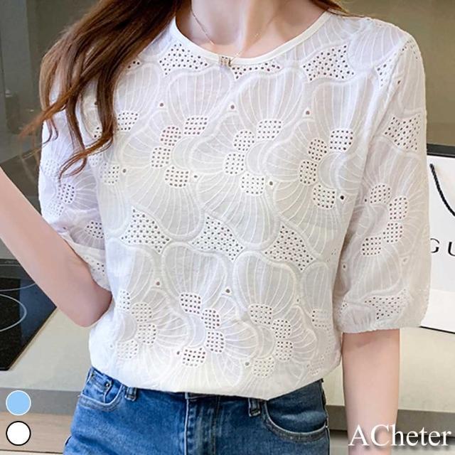 【ACheter】韓國美人刺繡全蕾絲棉柔寬鬆上衣#109492現貨+預購(2色)