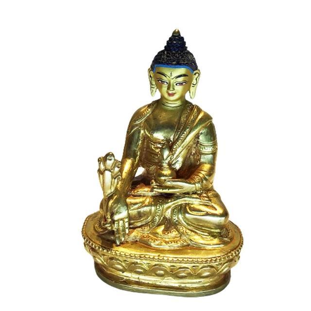 【十方佛教文物】藥師佛銅鎏金尼泊爾小佛像8.5公分