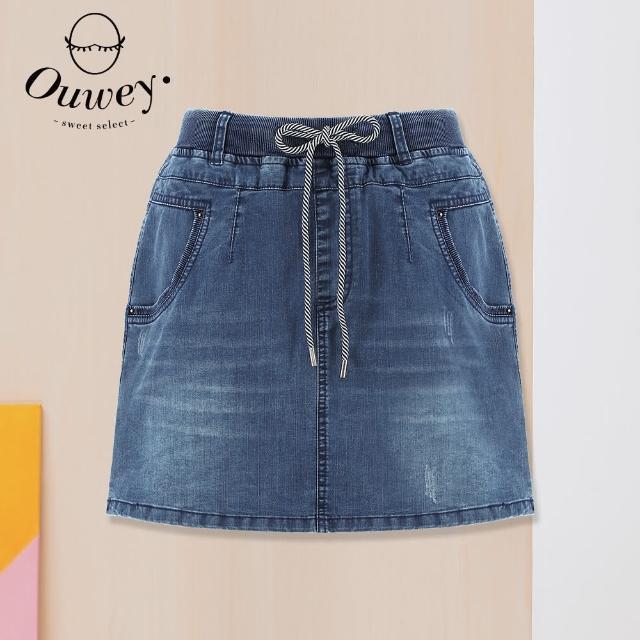 【OUWEY 歐薇】休閒抽繩鬆緊牛仔短褲裙3212068048(藍)
