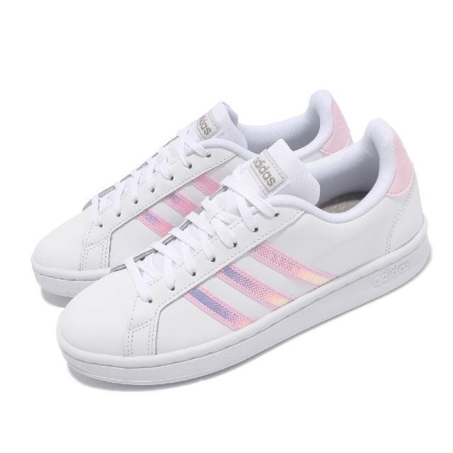 【adidas 愛迪達】休閒鞋 Grand Court 運動 女鞋 愛迪達 基本款 舒適 簡約 球鞋 穿搭 白 粉(FY8925)