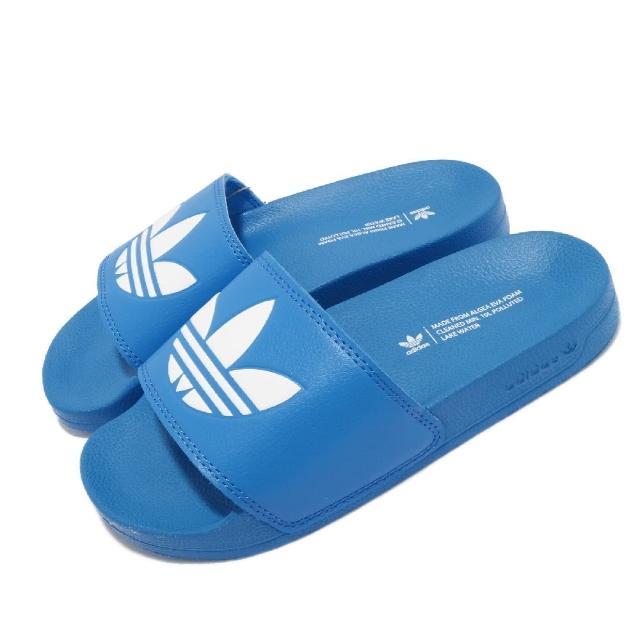 【adidas 愛迪達】拖鞋 Adilette Lite 套腳 男女鞋 愛迪達 輕便 簡約 舒適 情侶穿搭 夏日 藍 白(FX5905)