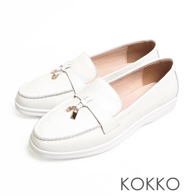 【KOKKO 集團】簡約鎖結彈力彎折輕量牛皮平底休閒鞋(米色)