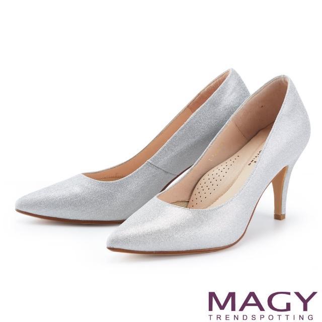【MAGY】閃爍金蔥花嫁尖頭 女 高跟鞋(銀色)