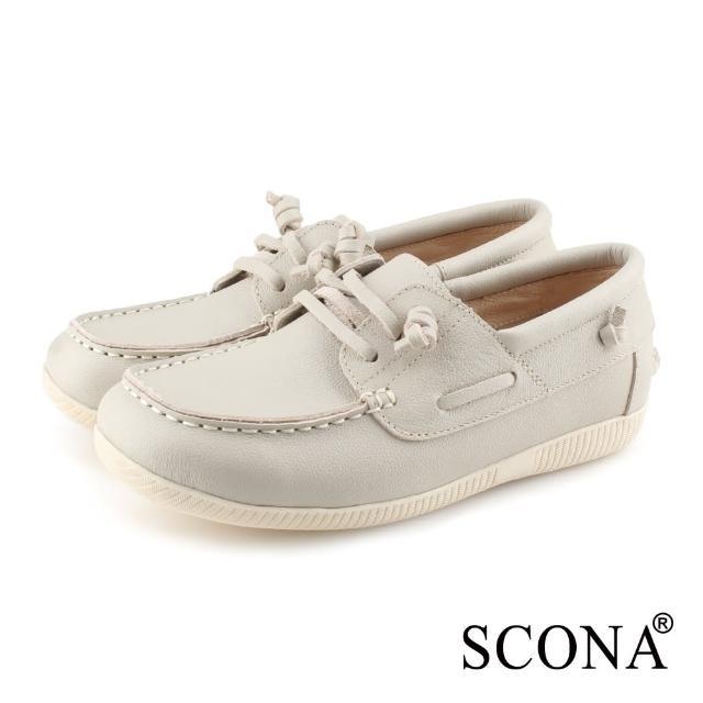 【SCONA 蘇格南】SCONA 蘇格南 全真皮 舒適休閒帆船鞋(灰白色 7356-2)