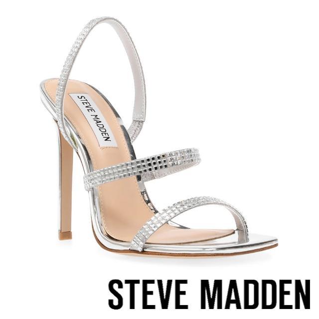 【STEVE MADDEN】GRADE-R 鑽飾細帶方投高跟涼鞋(銀色)