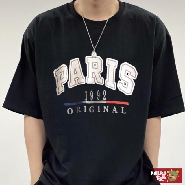 【AMERO】男女款 圓領短袖T恤(美式風格印花 寬鬆短T 五分袖 情侶裝)