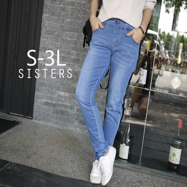 【SISTERS】高含棉刷痕水洗針織窄管褲/S-牛仔3L(窄管褲/牛仔/緊身/顯瘦)