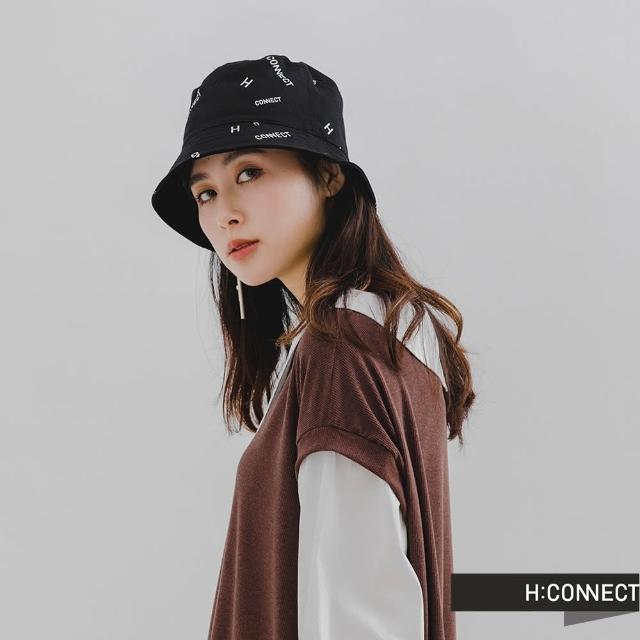 【H:CONNECT】韓國品牌 配飾-電繡logo雙面漁夫帽(黑色)