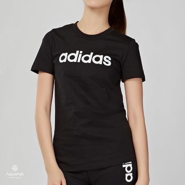【adidas 愛迪達】Essentials LINEAR 女款 黑色 LOGO 短袖 DP2361