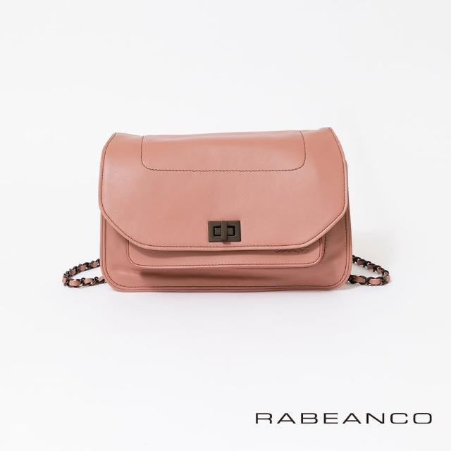 【RABEANCO】迷時尚牛皮系列鍊帶雙層轉釦方包-大(紅色)