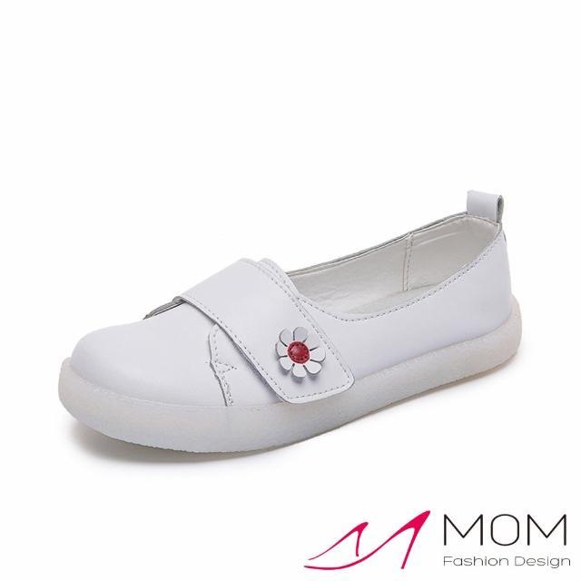 【MOM】舒適圓頭魔鬼粘可愛小花裝飾超軟底純色休閒鞋(白)