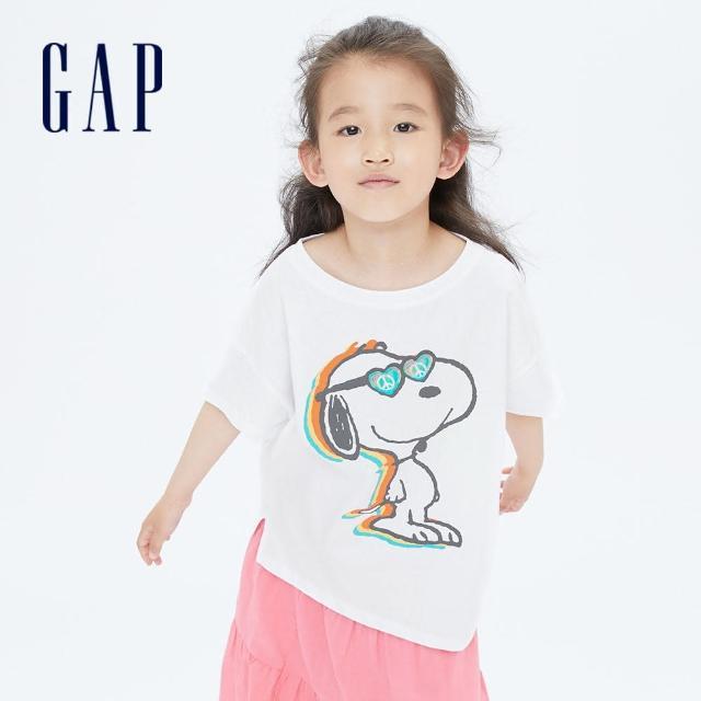 【GAP】女童 Gap x Snoopy 史努比系列純棉短袖T恤(701046-白色)