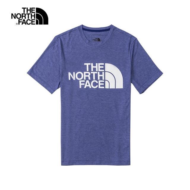 【The North Face】The North Face北面男款藍色吸濕排汗LOGO印花短袖T恤 4UALYF5