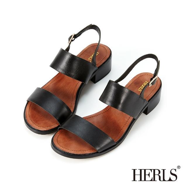 【HERLS】涼鞋-打蠟牛皮雙寬帶粗跟涼鞋(黑色)
