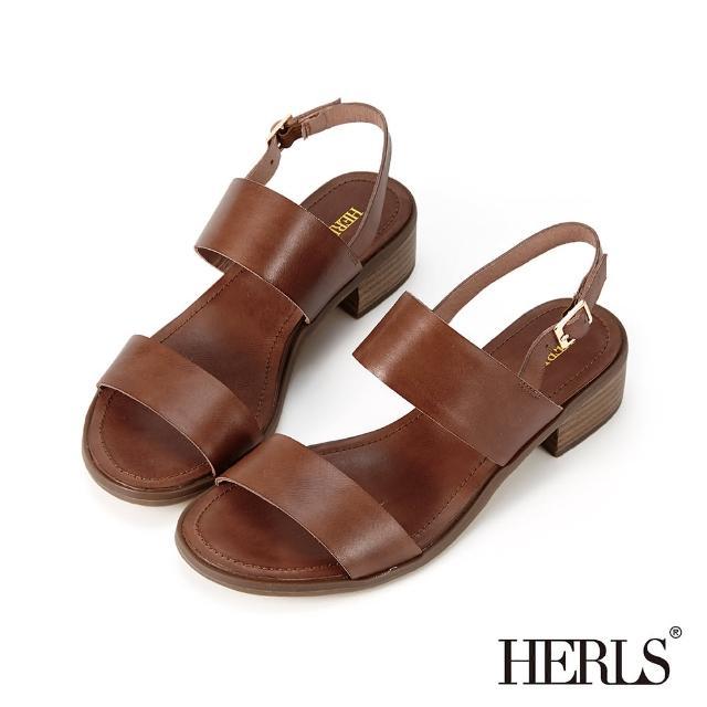 【HERLS】涼鞋-打蠟牛皮雙寬帶粗跟涼鞋(棕色)