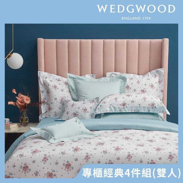 【WEDGWOOD】300織長纖棉印花鬆緊床包被套枕套四件組-山茶戀語(雙人)