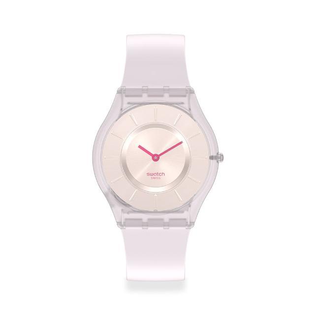 【SWATCH】SKIN超薄系列手錶CREAMY奶油白(34mm)