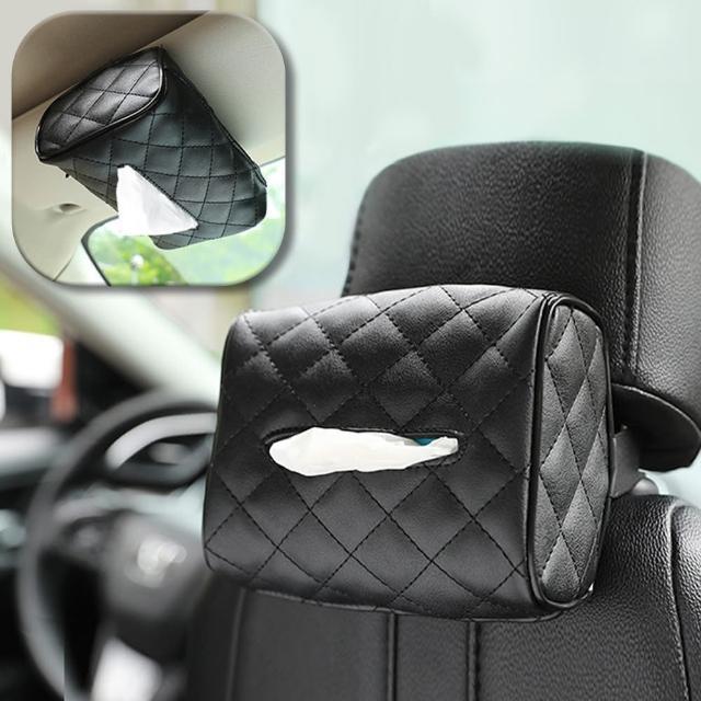 【幸福揚邑】菱格椅背皮革紙巾套遮陽板扶手箱汽車用面紙盒