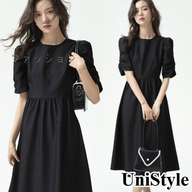 【UniStyle】日本熱銷高端 法式泡泡袖收腰中長版短袖連衣裙洋裝 女 VUZ3444(黑)