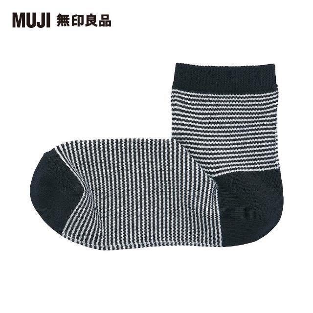 【MUJI 無印良品】女棉混足口寬鬆舒適橫紋直角短襪(黑橫紋23~25cm)
