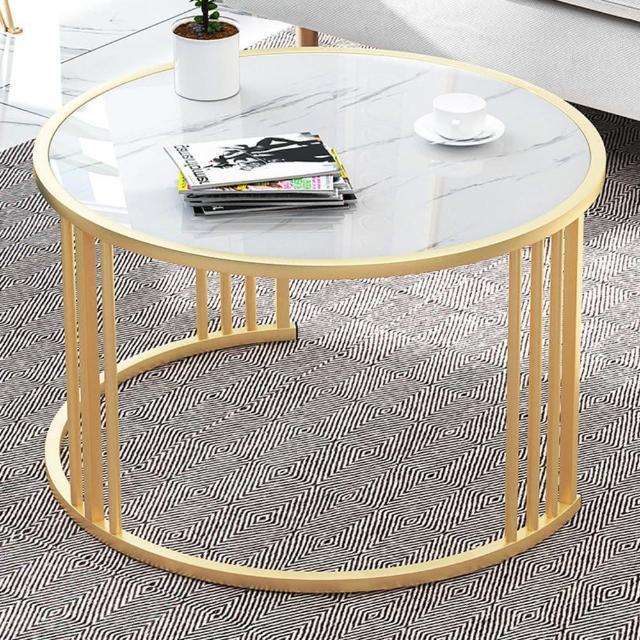 【職人家居】圓形茶几 白大理石紋 支架升級款 60cm 1028(咖啡桌 桌子 客廳桌 展示桌 餐桌 小桌子 大理石紋)