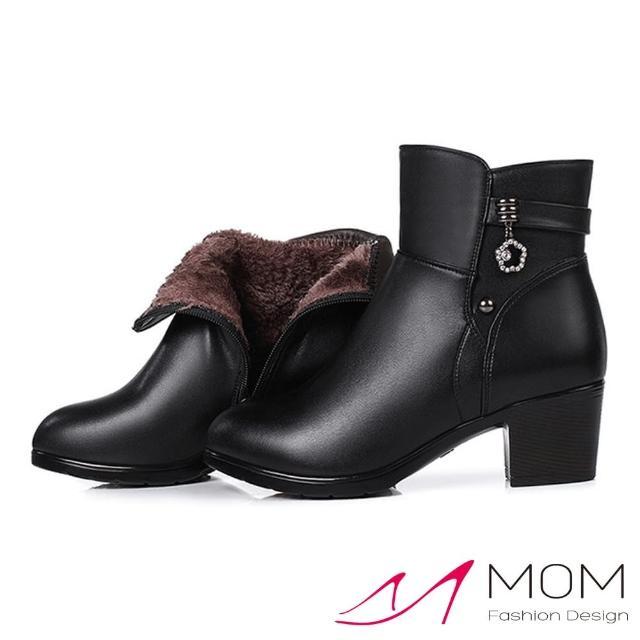 【MOM】真皮短靴 粗跟短靴/真皮質感牛皮典雅花朵美鑽拼接造型粗跟短靴(黑)