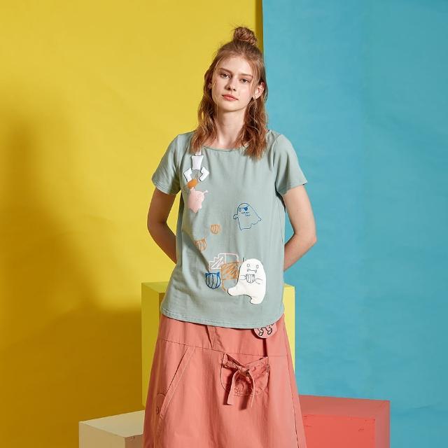 【Dailo】小怪獸們的零食派對-女短袖上衣(二色/版型適中)