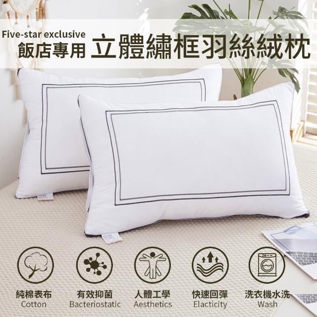 【Annette】可水洗純棉扭花羽絲絨枕頭(2入)