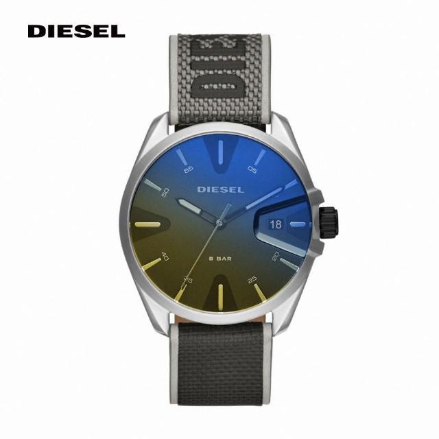 【DIESEL】Ms9 奔馳者霧黑混色錶帶手錶 螢光黃X黑色尼龍錶帶 44MM DZ1902