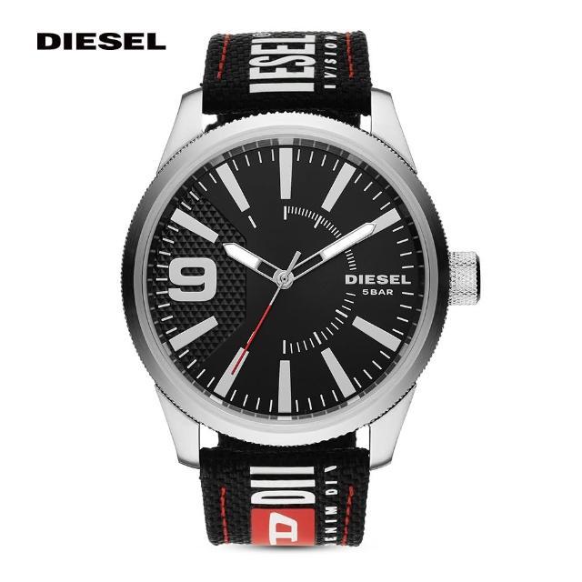 【DIESEL】Rasp Nsbb 運動街頭潮流手錶 黑色尼龍錶帶 46MM DZ1906