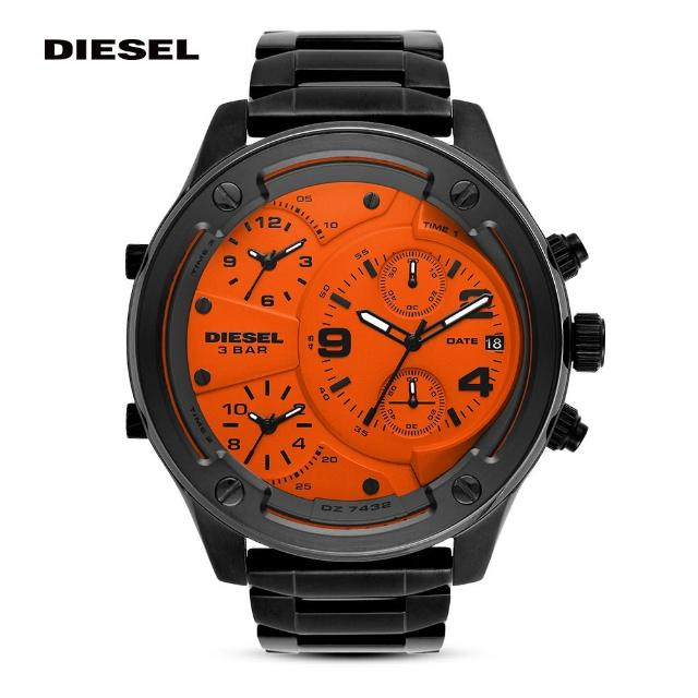 【DIESEL】Boltdown 曠野男神個性時尚多時區手錶 槍灰不鏽鋼鍊帶 56MM DZ7432