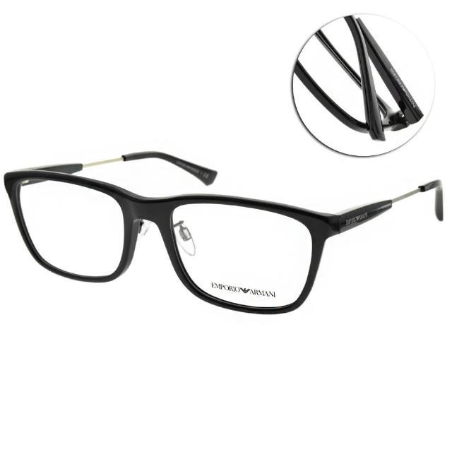 【EMPORIO ARMANI】光學眼鏡 方框款(黑-銀 #EA3165F 5001)
