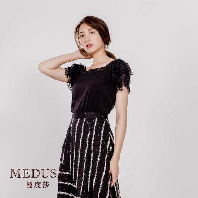 【MEDUSA 曼度莎】多層蕾絲拉克蘭袖素面上衣(M-2L)(601-7120A)
