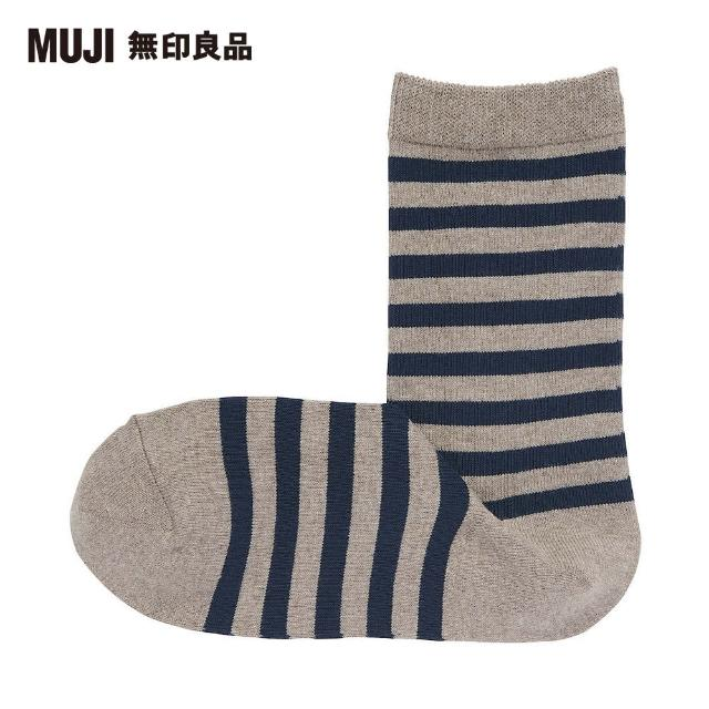【MUJI 無印良品】女棉混足口寬鬆舒適橫紋直角襪(摩卡棕橫紋23~25cm)