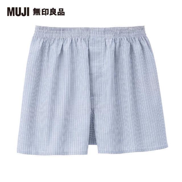 【MUJI 無印良品】男有機棉牛津布前開平口褲(淡藍直紋)
