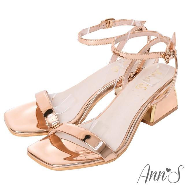 【Ann'S】不踩雷美腿製造機一字帶涼鞋-訂製金屬夾心粗跟-細帶4公分(玫瑰金)