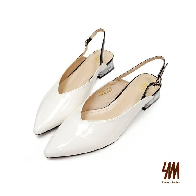 【SM】時尚尖頭後繞帶方跟鞋(白色)