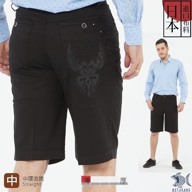 【NST JEANS】日本布料_雙龍戲珠燙銀圖騰 隱約細直紋黑短褲-中腰(395-25937)