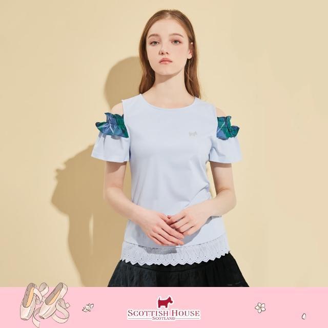 SCOTTISH HOUSE【SCOTTISH HOUSE】圓領露肩短袖下擺接蕾絲棉t-紅/藍(AM1253)
