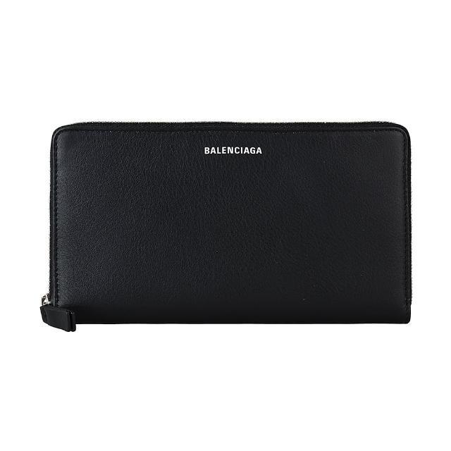 【Balenciaga 巴黎世家】BALENCIAGA EVERYDAY白字LOGO牛皮12卡拉鏈長夾(黑)