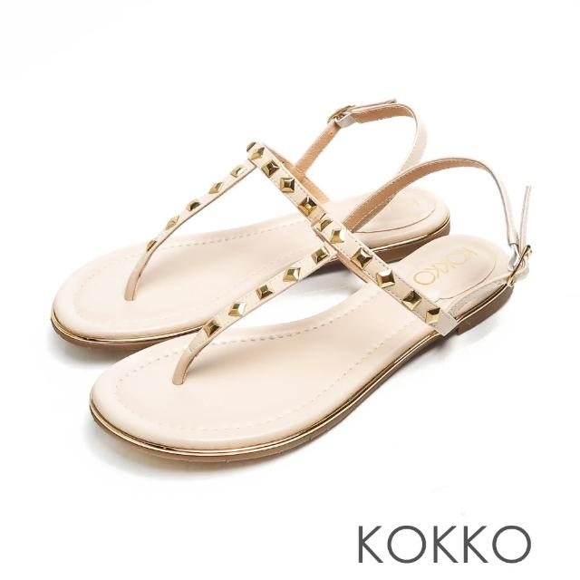 【KOKKO 集團】慵懶時尚鉚釘T字夾腳繫帶涼拖鞋(白色)