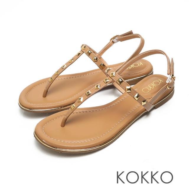 【KOKKO 集團】慵懶時尚鉚釘T字夾腳繫帶涼拖鞋(棕色)